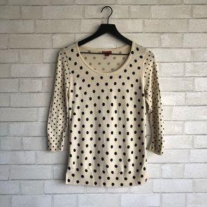 Merona Cute Simple Polka Dot Sweater Cream Black